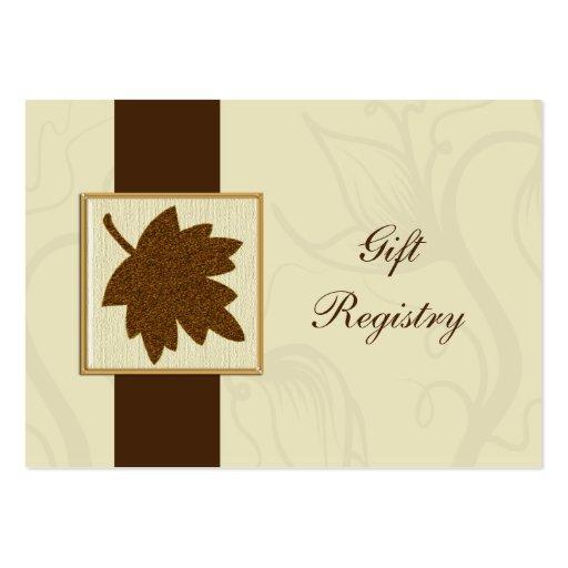 tarjetas marrones del registro de regalos del boda tarjetas de visita grandes