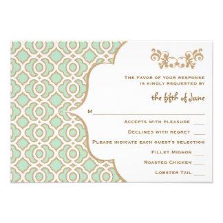 Tarjetas marroquíes de la respuesta del boda del o comunicado personalizado