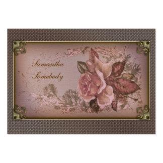 Tarjetas miniatura color de rosa rosadas antiguas tarjetas de visita grandes