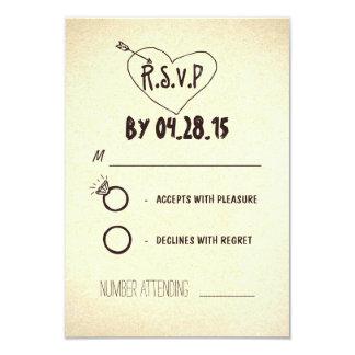 "tarjetas modernas creativas de RSVP que se casan Invitación 3.5"" X 5"""
