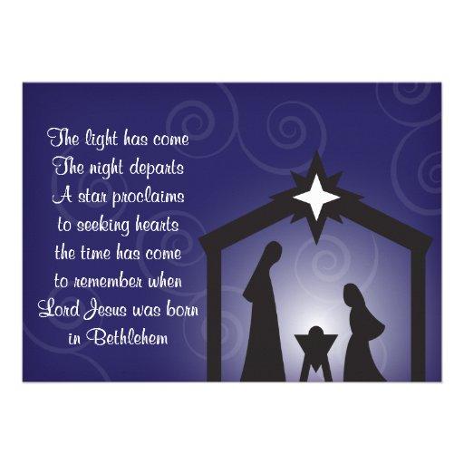 Tarjetas modernas de la natividad del navidad de l anuncio personalizado