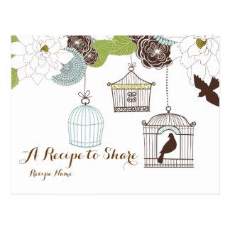 Tarjetas modernas de la receta de las jaulas de pá tarjeta postal