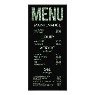 Tarjetas modernas del menú del salón de la tipogra plantilla de lona
