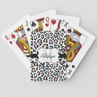 Tarjetas multi de los colores del estampado barajas de cartas