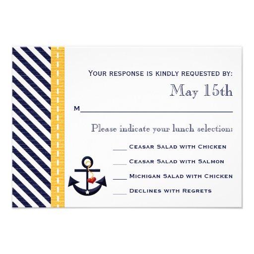 Tarjetas náuticas de la respuesta de RSVP del ancl Invitaciones Personales