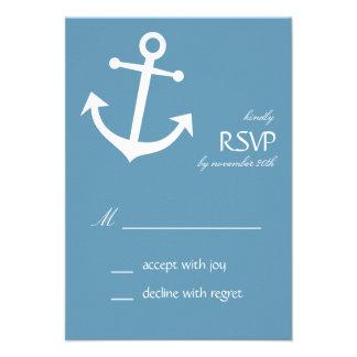 Tarjetas náuticas de RSVP del ancla del barco (gri Comunicado Personal