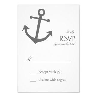 Tarjetas náuticas de RSVP del ancla del barco gri Comunicado Personalizado