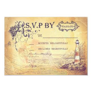 Tarjetas náuticas de RSVP del faro del vintage que Invitación