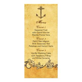tarjetas náuticas del menú del boda del ancla rúst