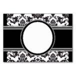 Tarjetas negras de la tabla de los damascos