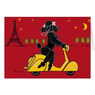 Tarjetas negras de la torre Eiffel del caniche