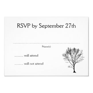 """Tarjetas negras de RSVP de la silueta del árbol Invitación 3.5"""" X 5"""""""
