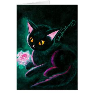 Tarjetas negras del arte del gatito
