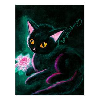 Tarjetas negras del arte del gatito tarjetas postales