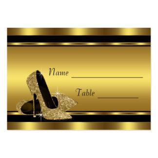 Tarjetas negras del asiento de la tabla del zapato tarjetas de visita grandes