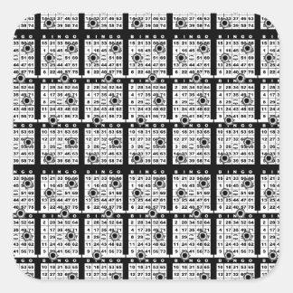 Tarjetas negras del bingo pegatina cuadrada