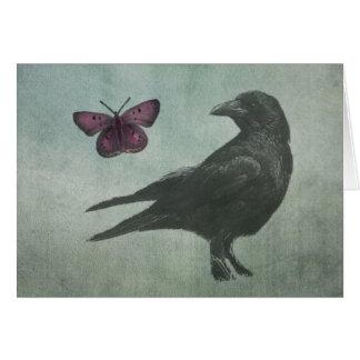 Tarjetas negras del cuervo y de la mariposa