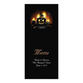 Tarjetas negras del menú del boda de la calabaza lonas personalizadas