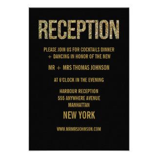 Tarjetas negras del recinto de la recepción del br comunicado personal