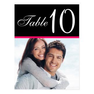 Tarjetas negras rosadas del número de la tabla del tarjetas postales