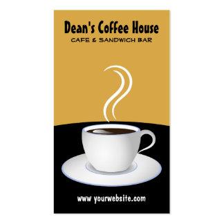 Tarjetas negras y beige de la cafetería del café d