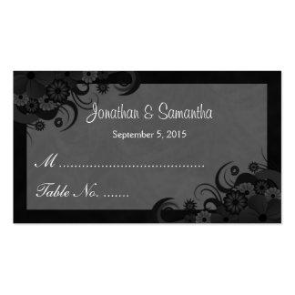 Tarjetas negras y grises florales del lugar de la tarjetas de visita