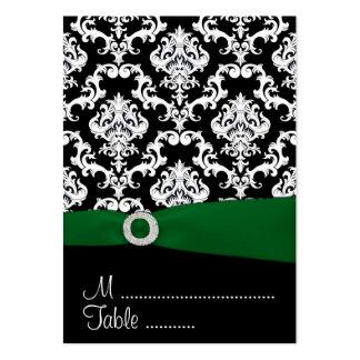 Tarjetas negras y verdes del lugar de la recepción tarjetas de visita