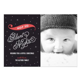 Tarjetas no tan silenciosas de la foto del navidad anuncios