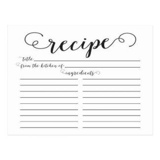 Tarjetas nupciales de la receta de la ducha de la postal