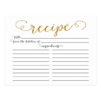Tarjetas nupciales de la receta de la ducha de la tarjetas postales
