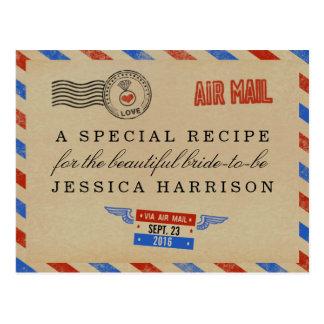 Tarjetas nupciales de la receta de la ducha del tarjeta postal
