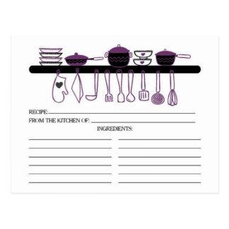 Tarjetas nupciales de la receta de los artilugios postal
