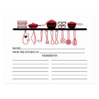 Tarjetas nupciales de la receta de los artilugios postales