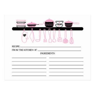 Tarjetas nupciales de la receta de los artilugios tarjetas postales