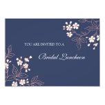 Tarjetas nupciales florales azules coralinas de la invitación 12,7 x 17,8 cm