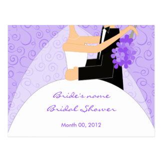 Tarjetas nupciales púrpuras del consejo de la tarjeta postal