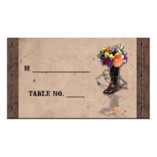 Tarjetas occidentales del lugar del boda del tarjetas de visita