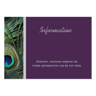 Tarjetas orgullosas del registro del pavo real tarjetas de visita grandes