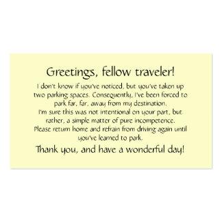 Tarjetas para dejar en otros los parabrisas tarjeta de visita
