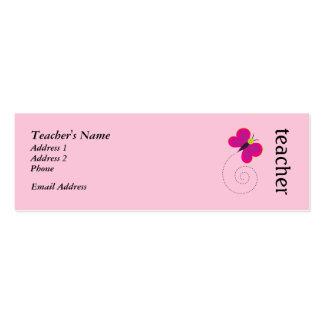 Tarjetas personales del profesor rosado lindo