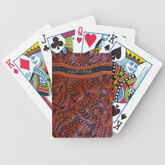 tarjetas personalizable de cuero equipadas baraja de cartas bicycle