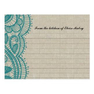 Tarjetas personalizadas cordón de la receta del li postal