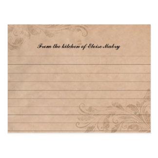 Tarjetas personalizadas remolino de la receta del  postal