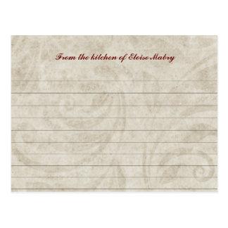 Tarjetas personalizadas remolino de la receta del  tarjetas postales