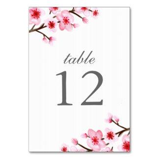 Tarjetas pintadas del número de la tabla de las