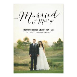 Tarjetas planas casadas de la foto del navidad invitacion personalizada