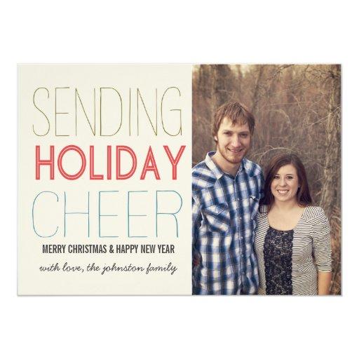 Tarjetas planas de la foto alegre del navidad invitación 12,7 x 17,8 cm