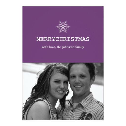 """Tarjetas planas de la nieve del navidad púrpura invitación 5"""" x 7"""""""