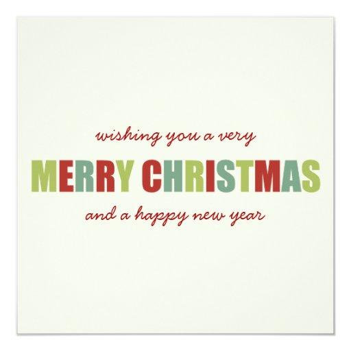 Tarjetas planas de los Navidad coloridos Felices y Invitación 13,3 Cm X 13,3cm