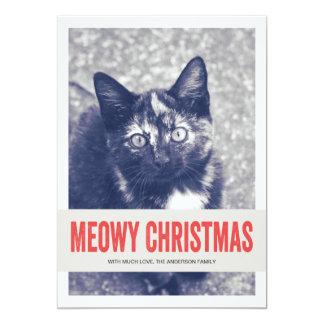 """Tarjetas planas de Meowy del navidad de la foto Invitación 5"""" X 7"""""""